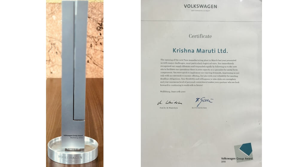 Volkswagen Group Supplier Award received in 2010